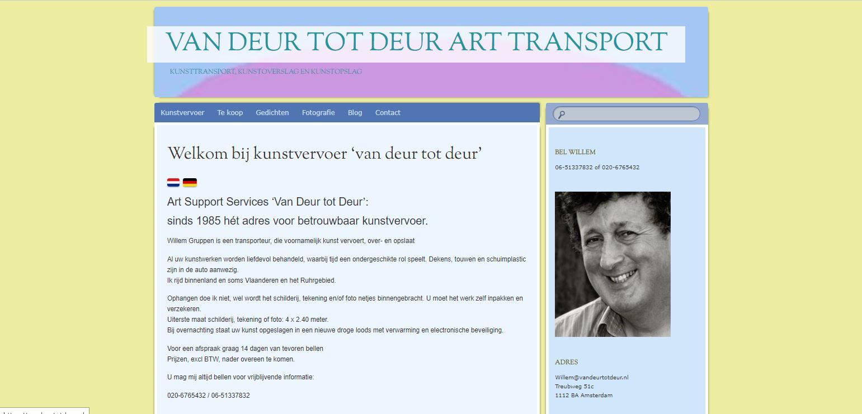 Kunstvervoer vandeurtotdeur.nl website Waldner Media