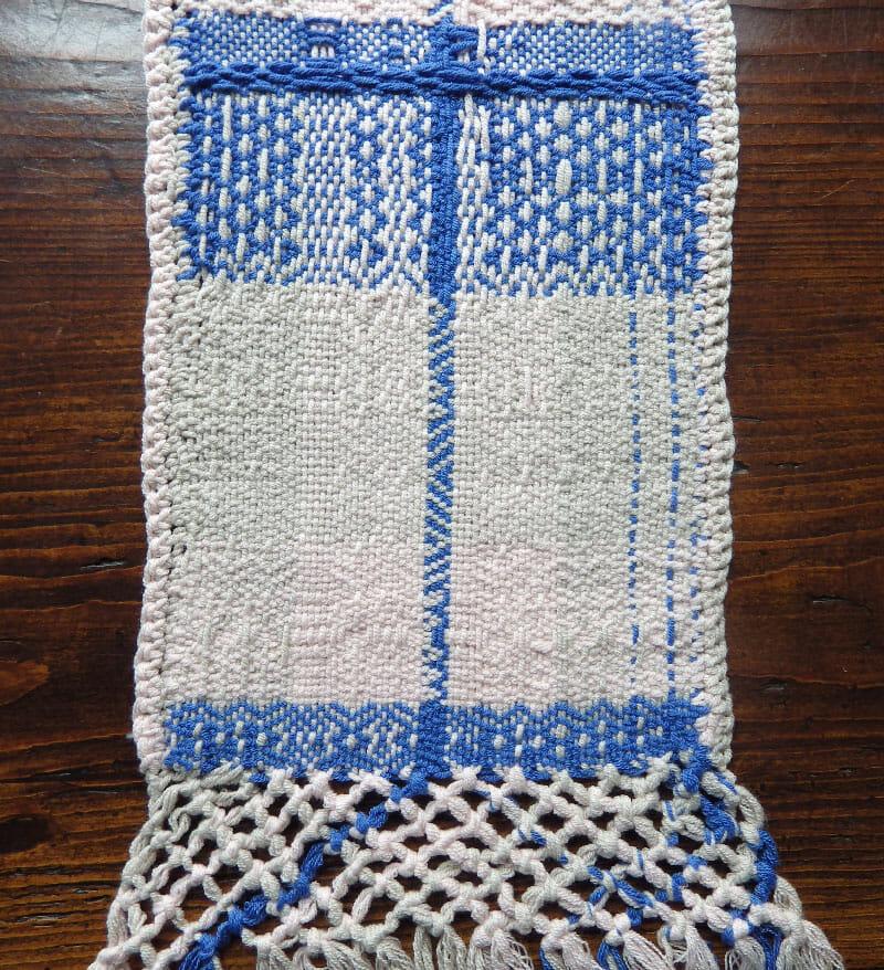 Weefproject 4 schachten blauw-wit Karin Waldner